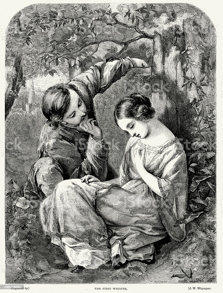 Victorian Couple Flirting - The First Whisper vector art illustration
