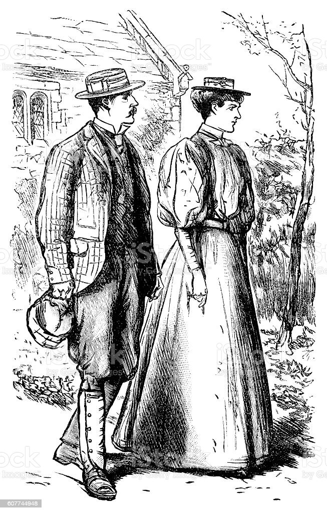 Victorian couple out walking vector art illustration
