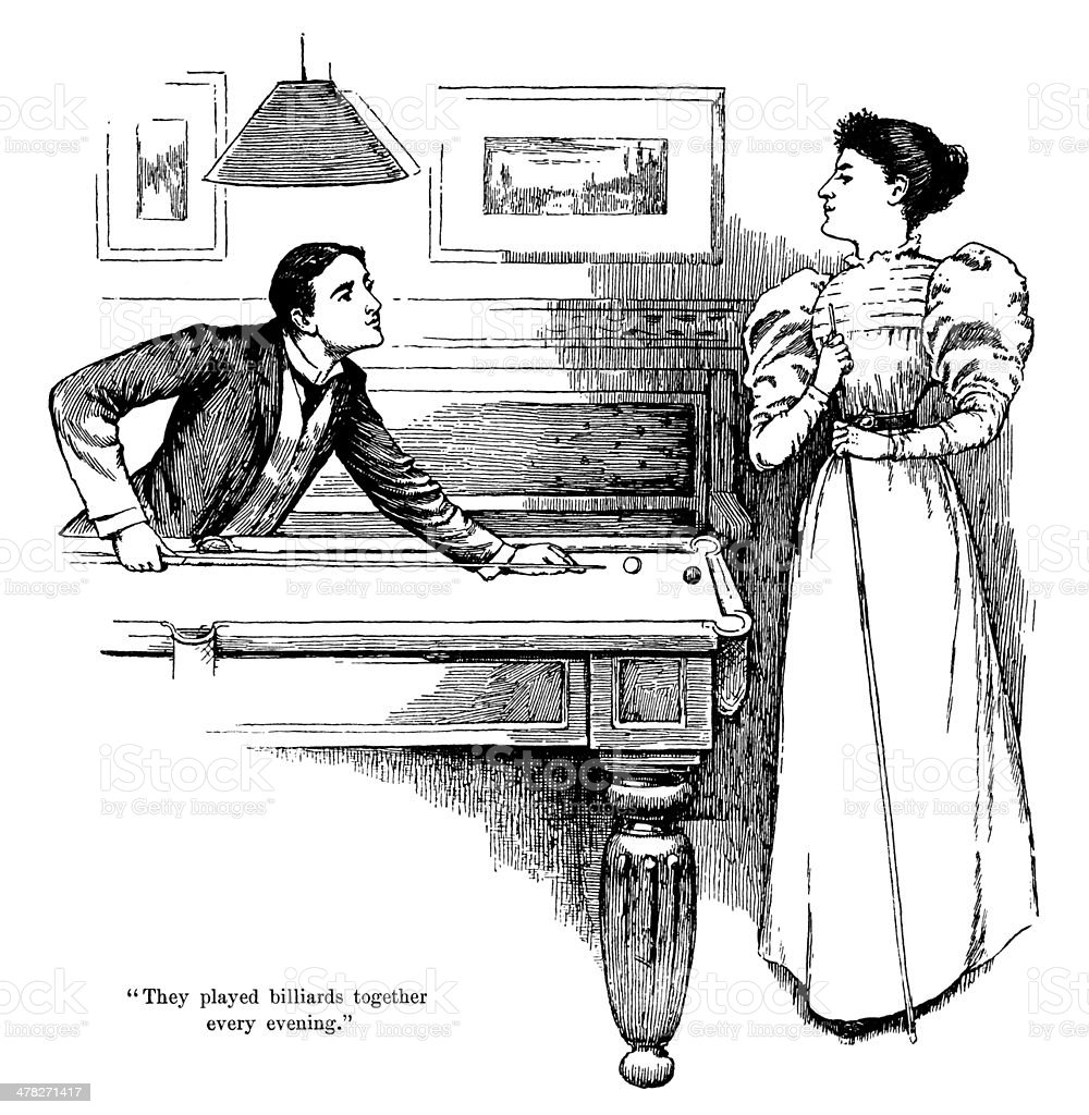 Victorian couple playing billiards vector art illustration