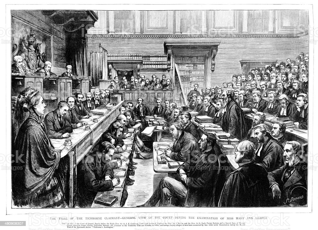 Victorian Court - The Tichborne case vector art illustration