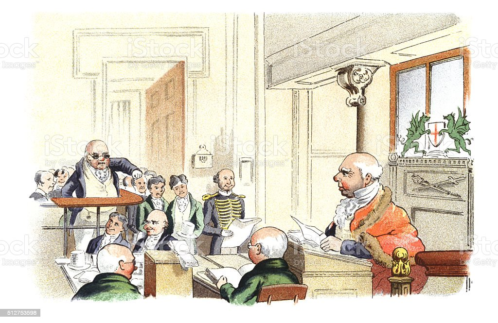 Victorian courtroom scene vector art illustration
