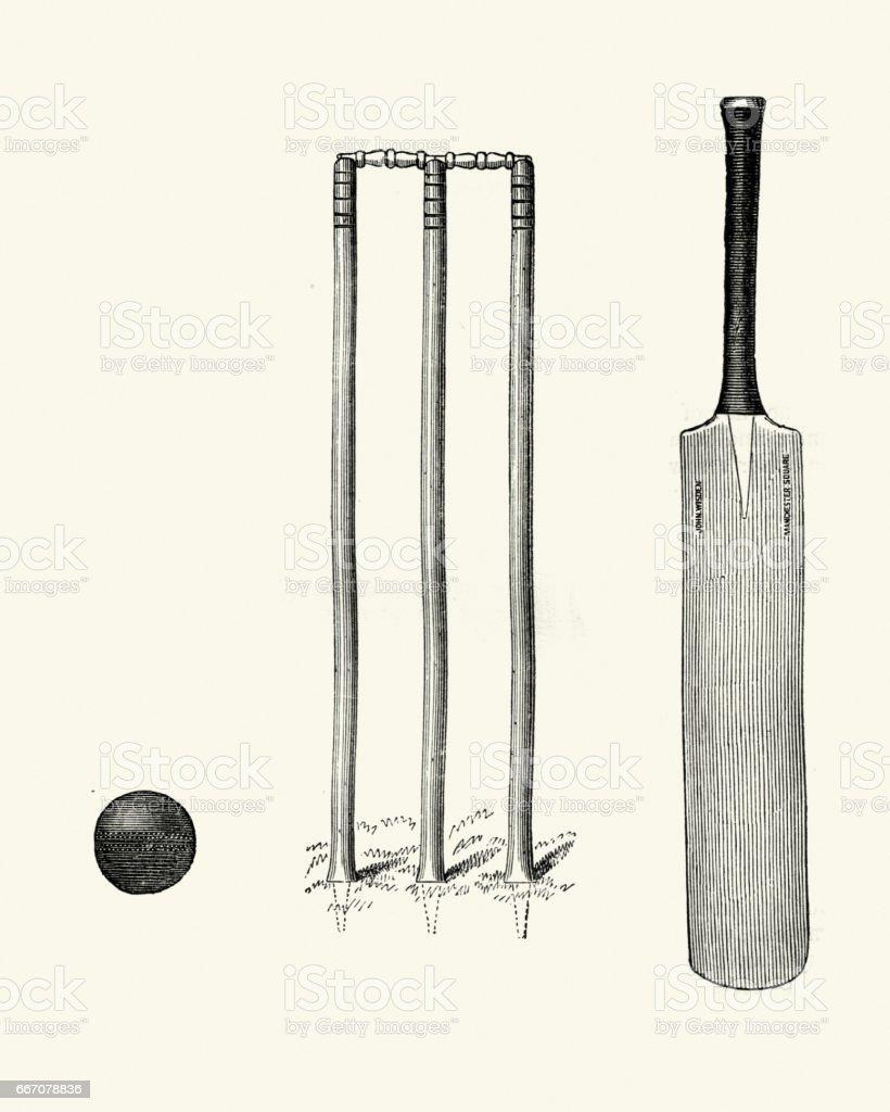 Victorian cricket bat ball and wicket 19th Century vector art illustration