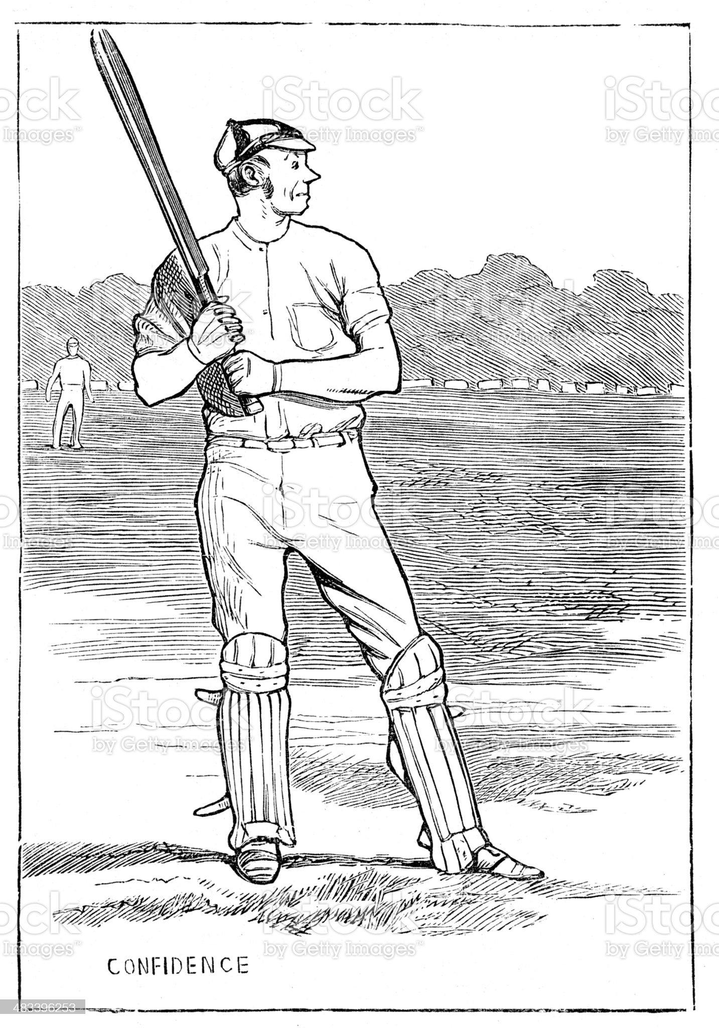 Victorian Cricket Batsman royalty-free stock vector art
