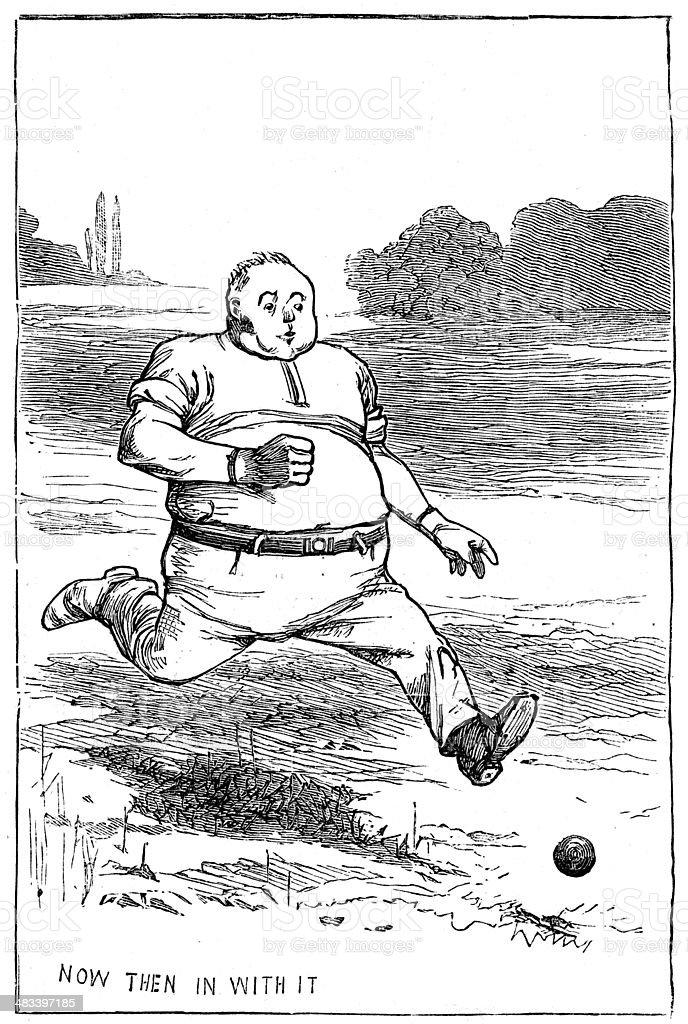 Victorian Cricket Fielder vector art illustration