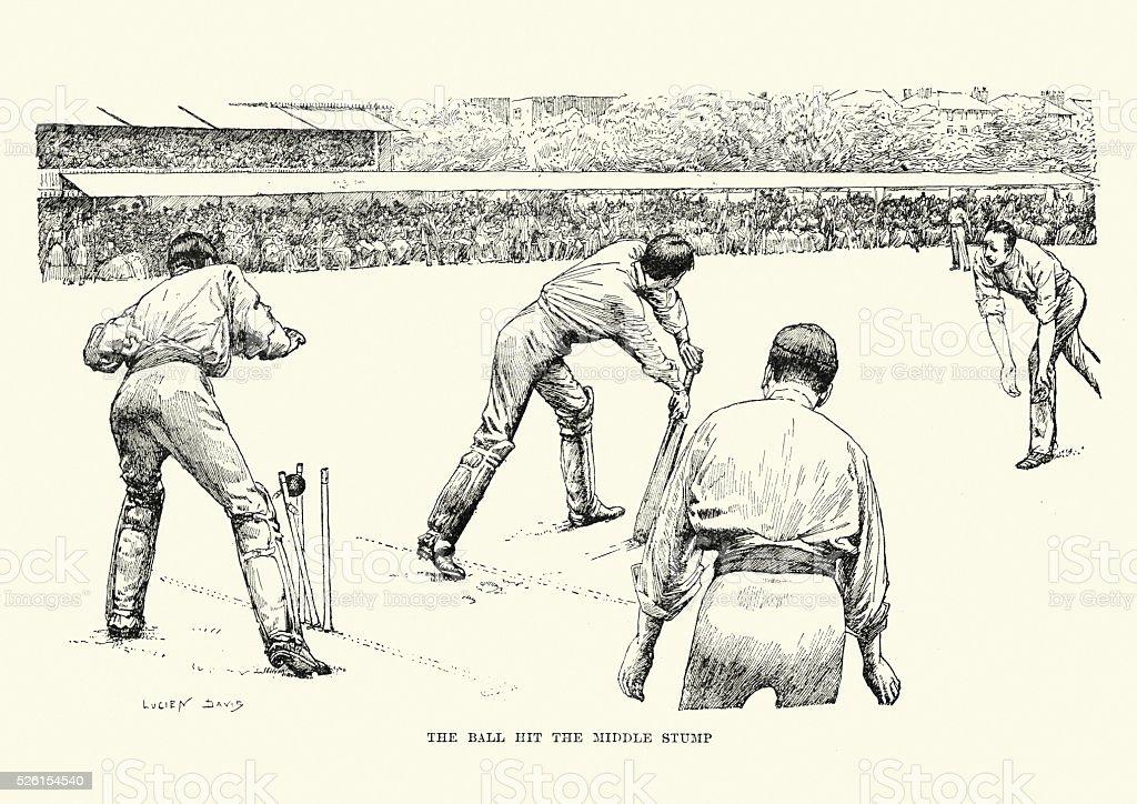 Victorian Cricket Match, 19th Century vector art illustration