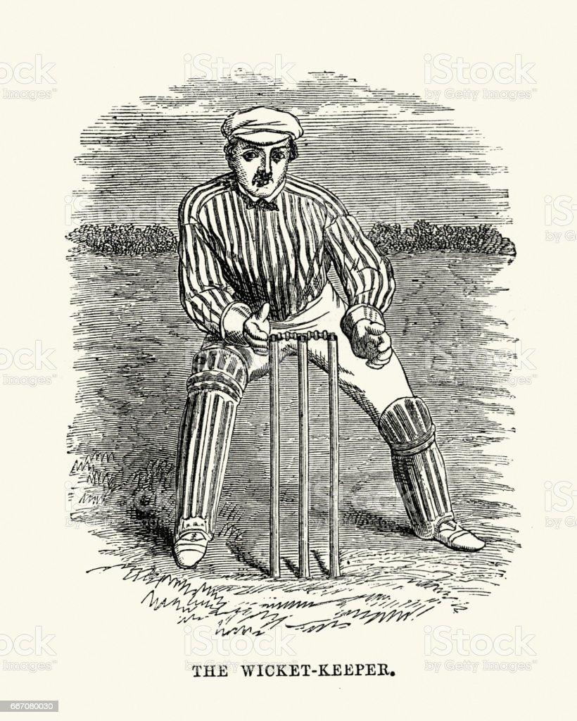 Victorian cricket wicket keeper 19th Century vector art illustration
