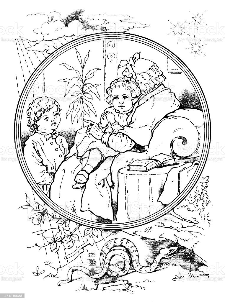 Victorian drawing - old lady telling stories to small children royalty-free stock vector art