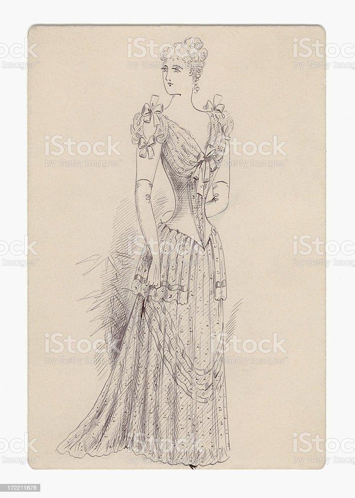 Victorian / Edwardian lady's fashion design royalty-free stock vector art