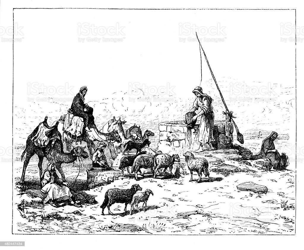 Victorian engraving biblical scene sheep camels well  from 1880 journal vector art illustration