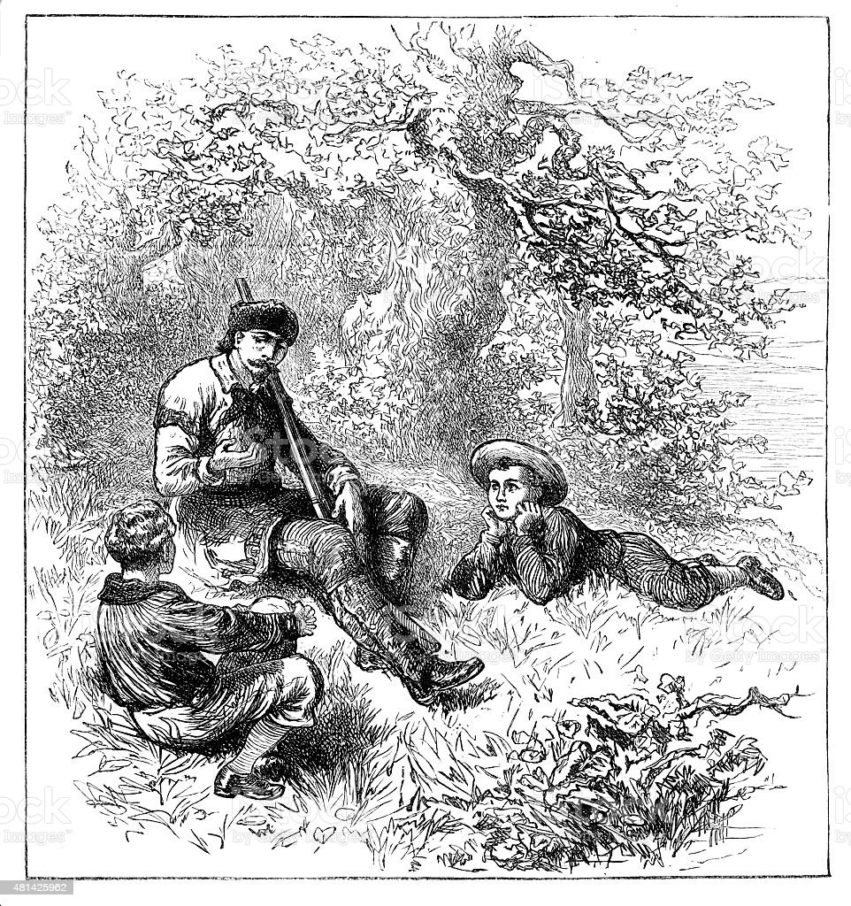 Victorian engraving man with shotgun telling stories from 1880 journal vector art illustration