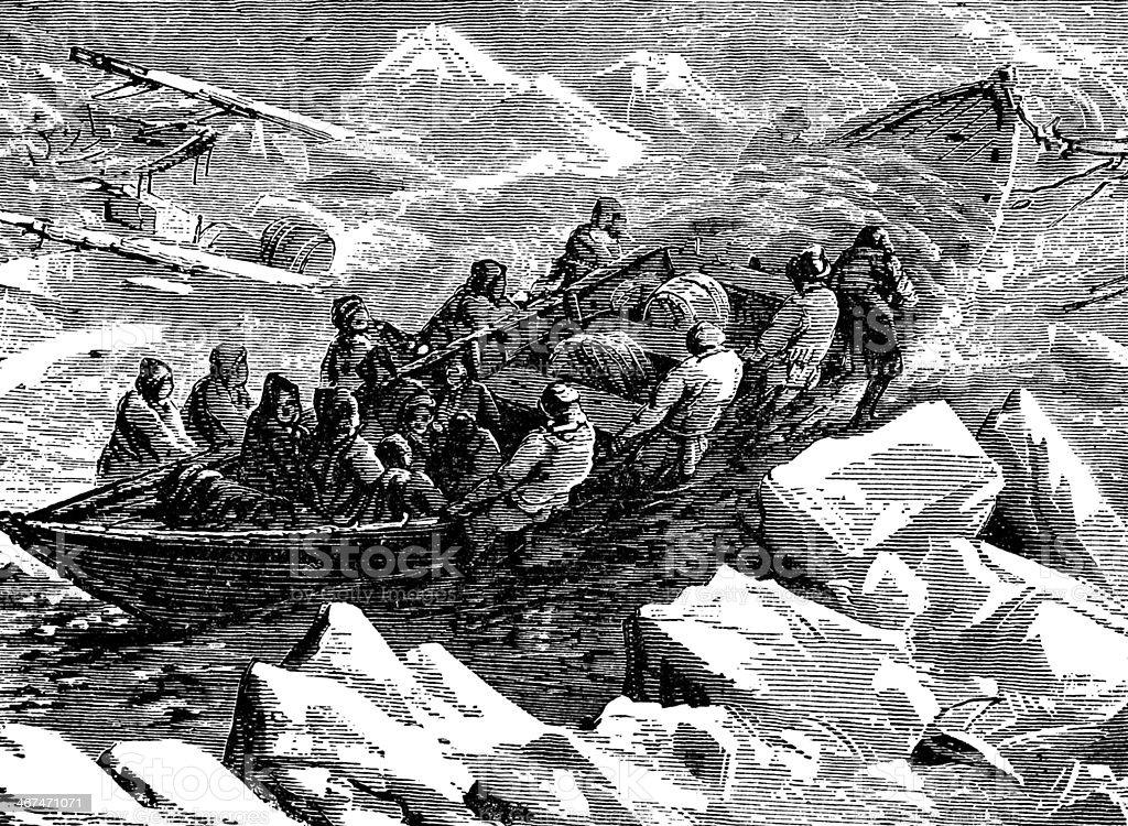 Victorian engraving of a polar expedition vector art illustration