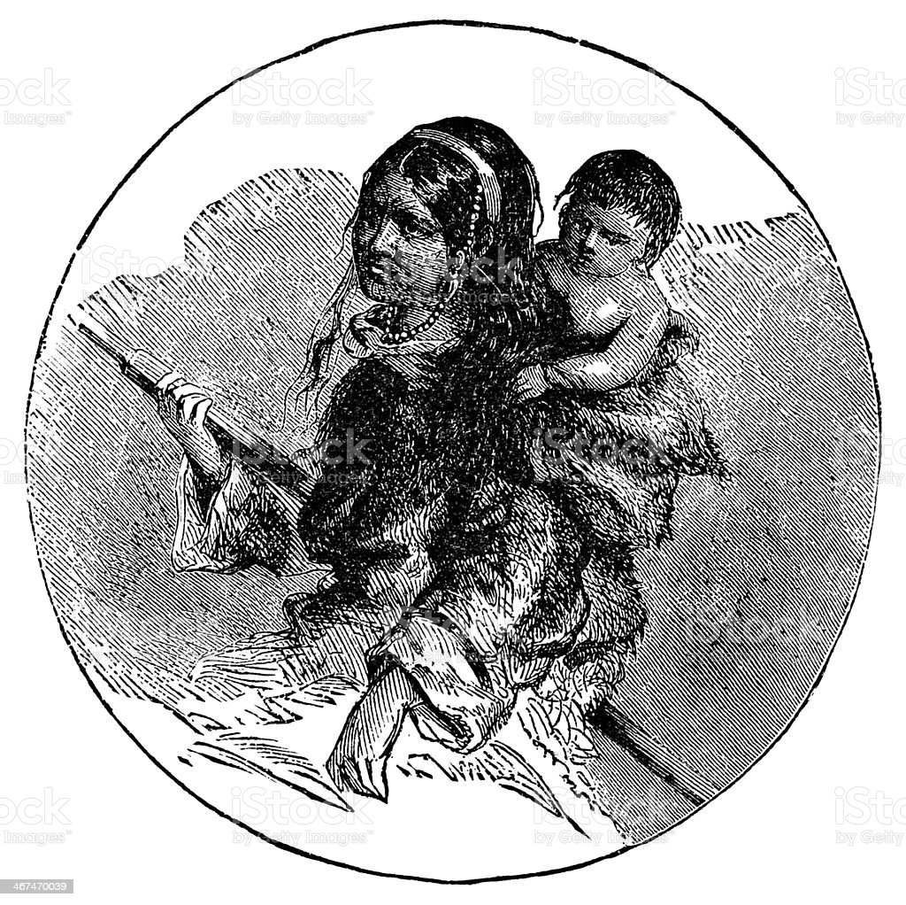 Victorian engraving of an eskimo Inuit mother and child vector art illustration