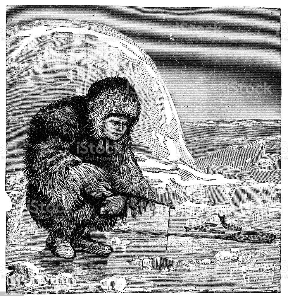 Victorian engraving of an inuit ice fishing vector art illustration