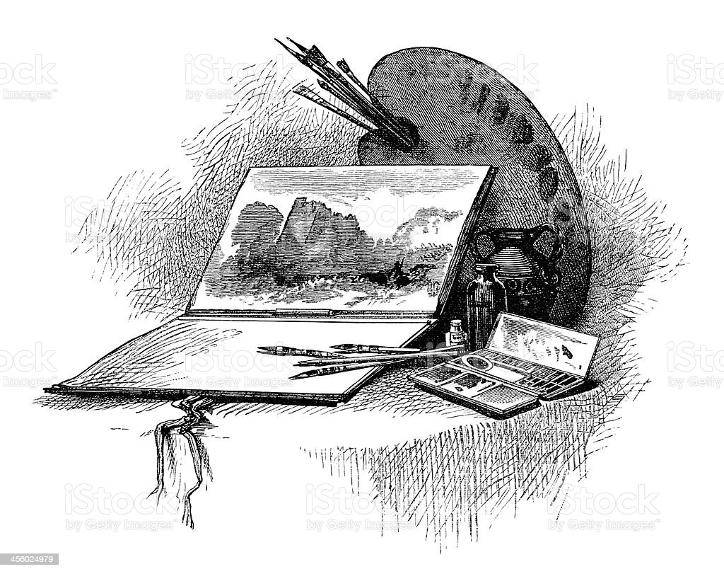 Victorian engraving of artist's equipment royalty-free stock vector art