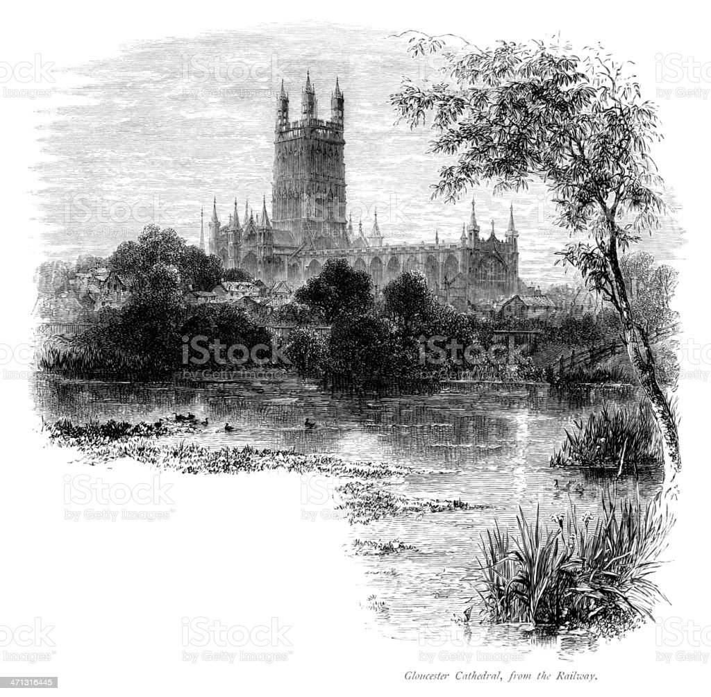 Victorian engraving of Gloucester Cathedral vector art illustration