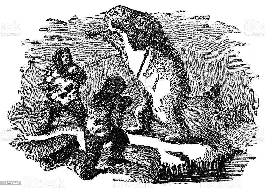 Victorian engraving of inuit hunting polar bear vector art illustration