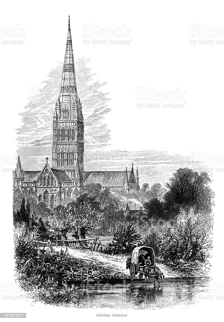 Victorian engraving of Salisbury Cathedral vector art illustration