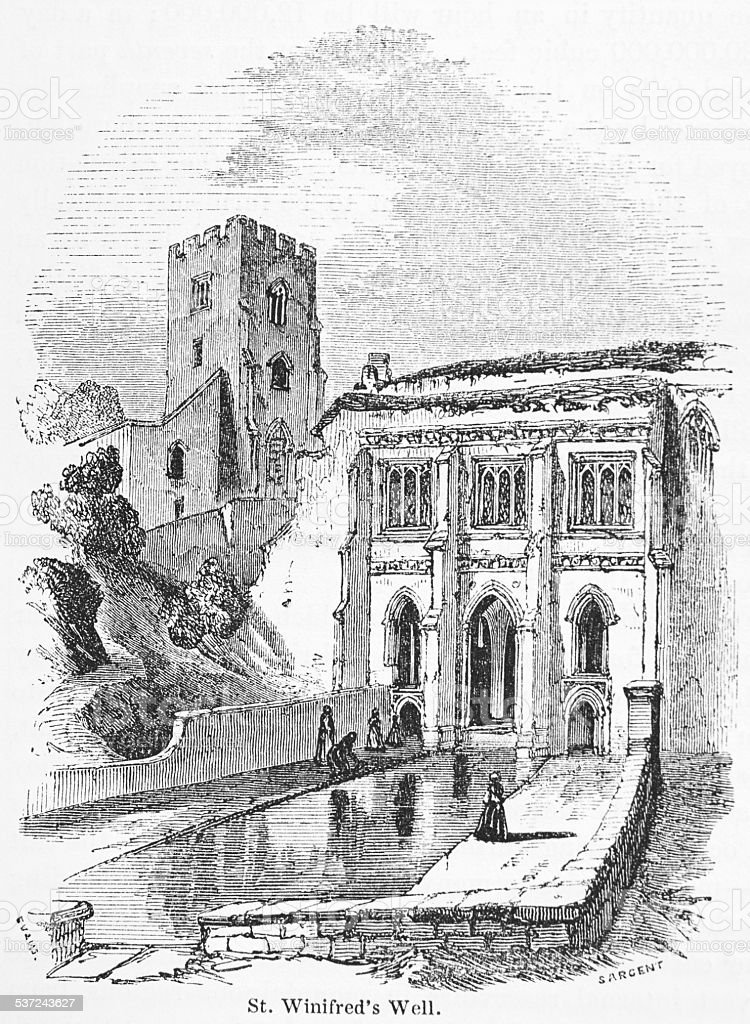 Victorian Engraving Of St Winifred's Well vector art illustration