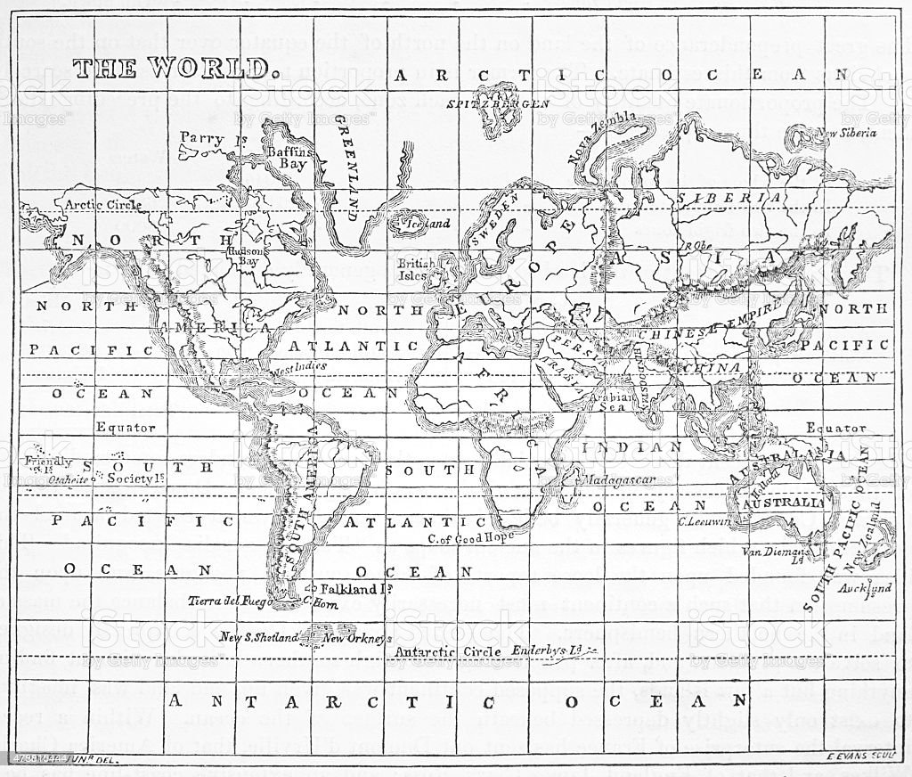 Victorian Engraving Showing A Map Of The World vector art illustration