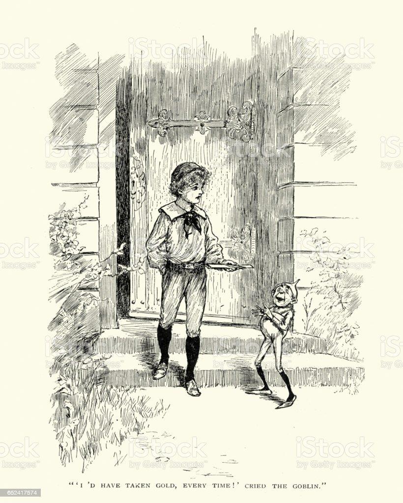 Victorian fairy tale, the boy and the goblin vector art illustration