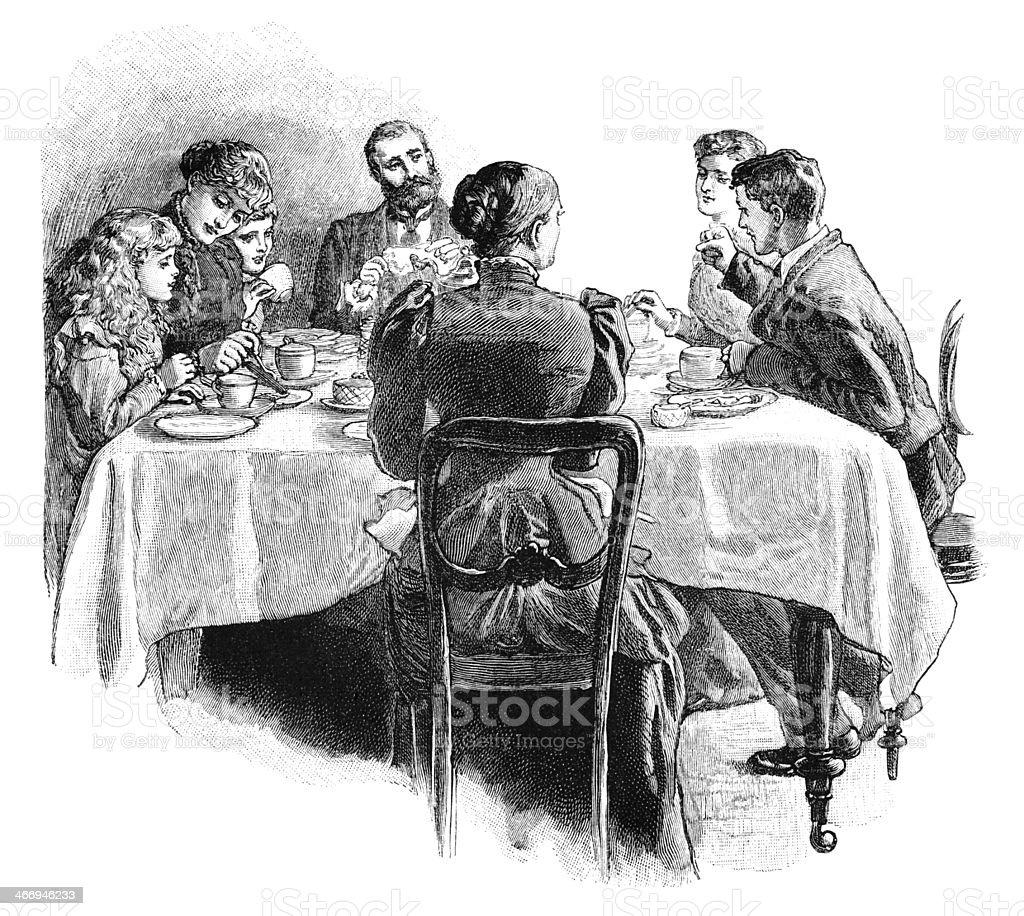 Victorian family around the tea table vector art illustration