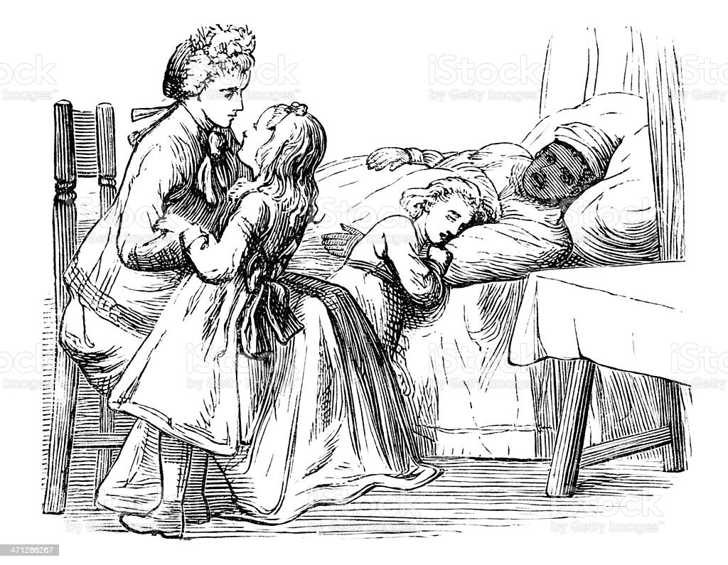 Victorian family caring for a sick Afro-Caribbean woman vector art illustration