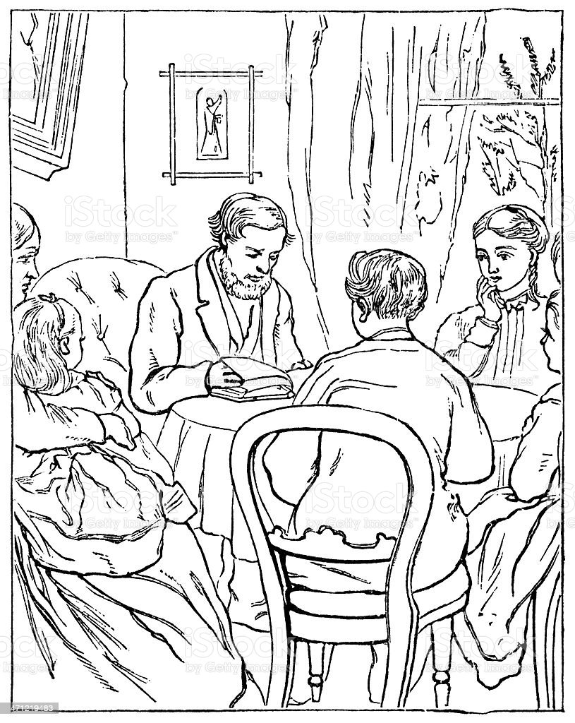 Victorian family studying a book royalty-free stock vector art