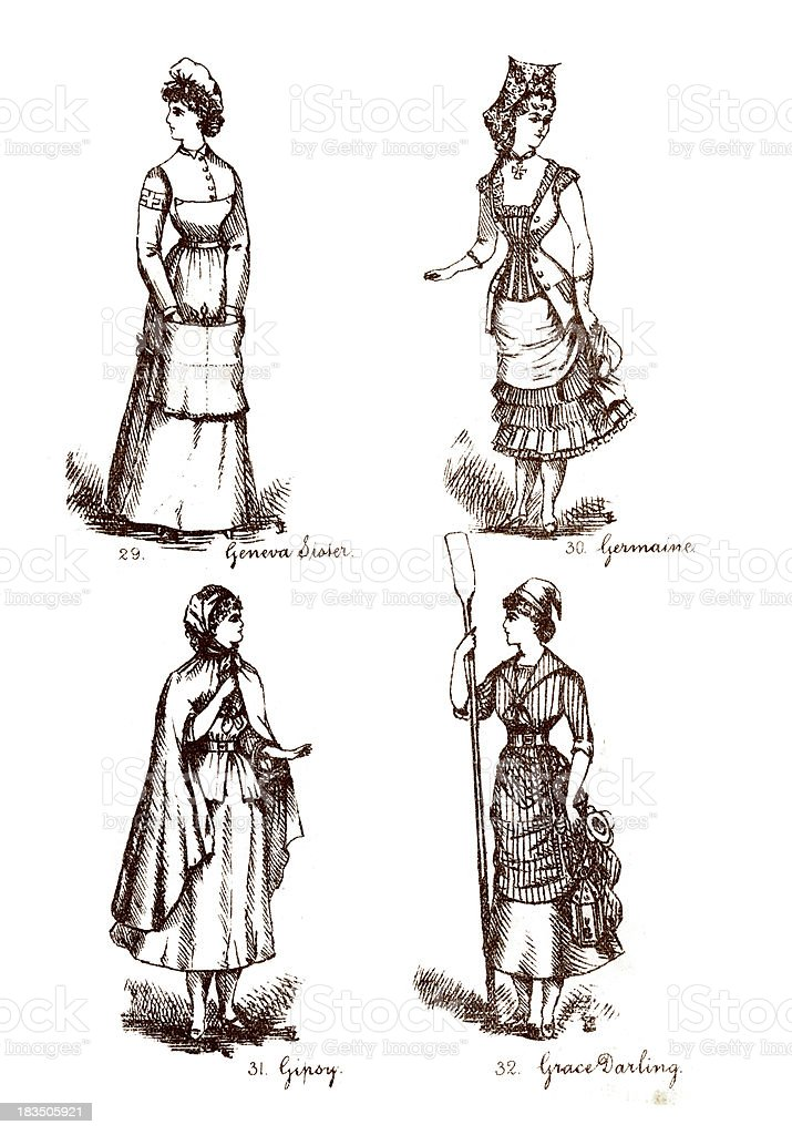 Victorian Fancy Dress Costumes vector art illustration
