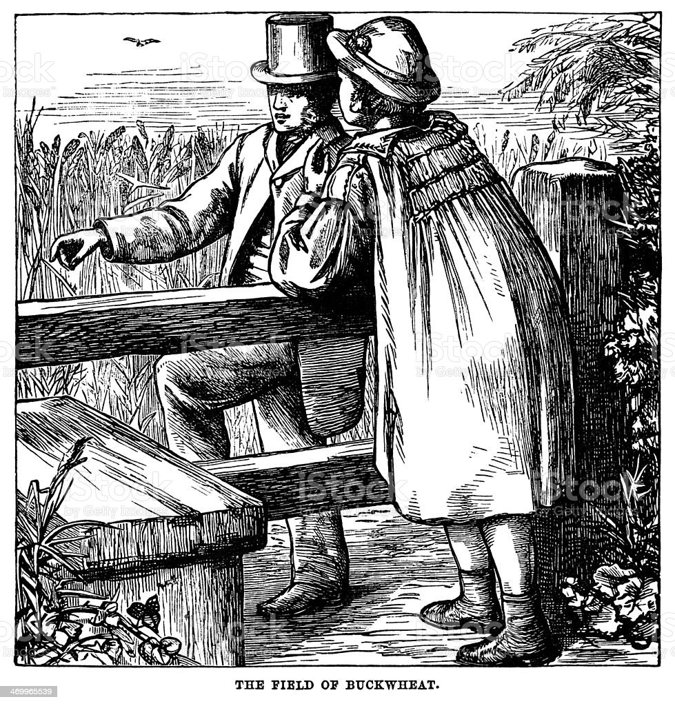 Victorian farmer and gentleman discussing crops by a stile vector art illustration