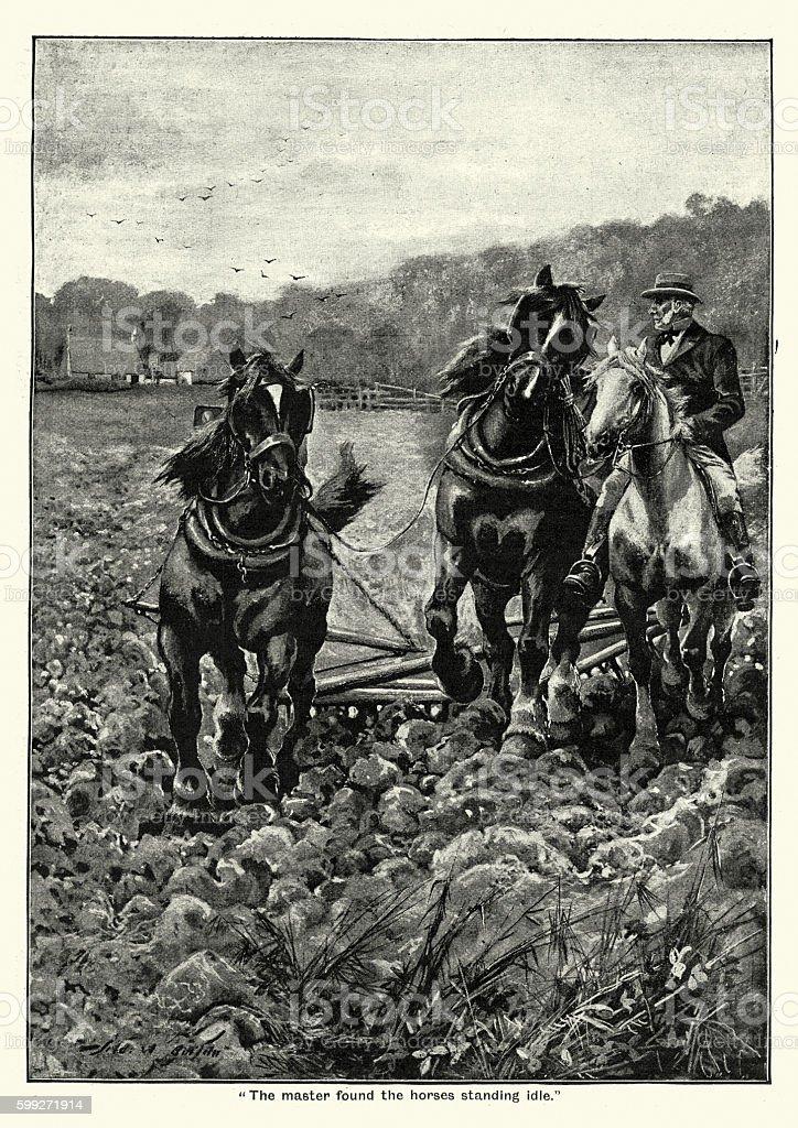 Victorian farmer ploughing his field vector art illustration