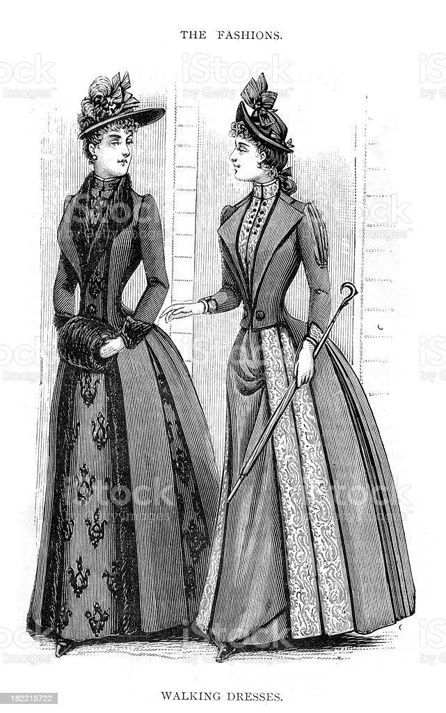 Victorian Fashion Walking Dresses 19th Century royalty-free stock vector art