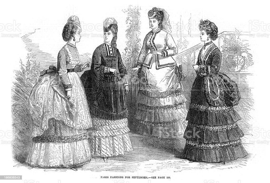 Victorian Fashion Young Women 19th Century royalty-free stock vector art