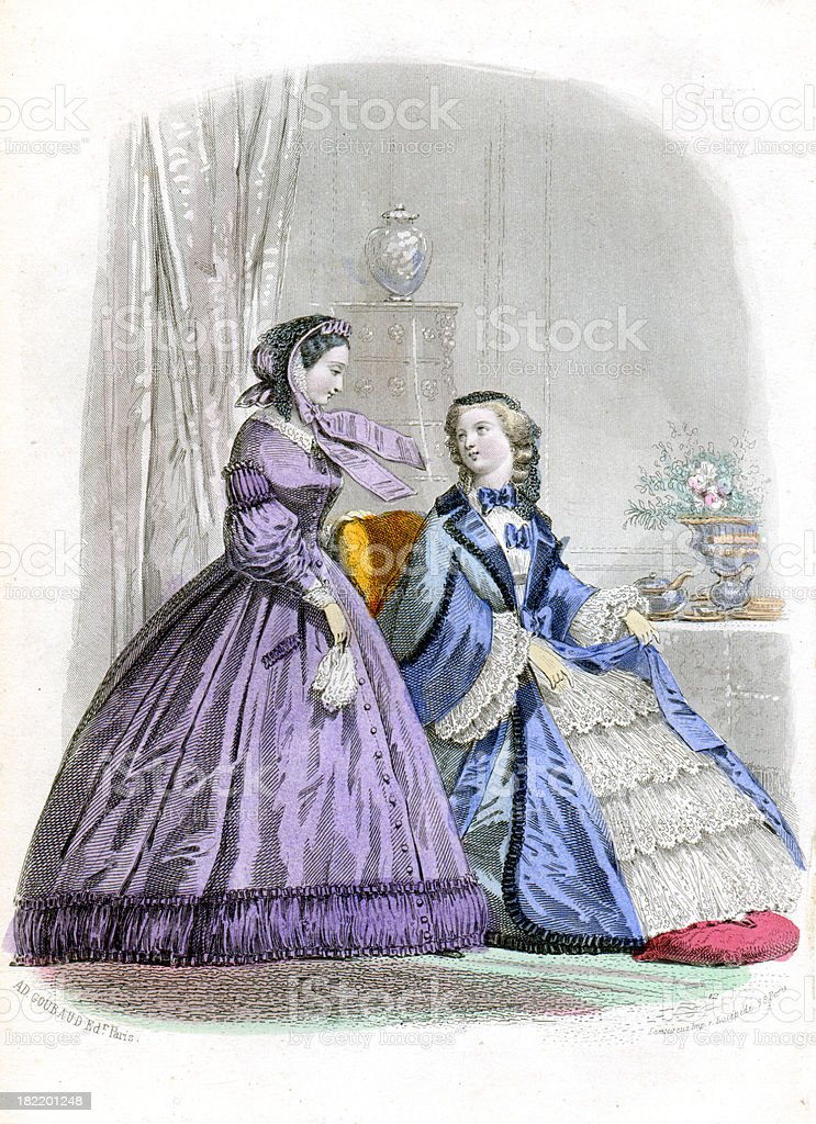 Victorian Fashion Young Women royalty-free stock vector art