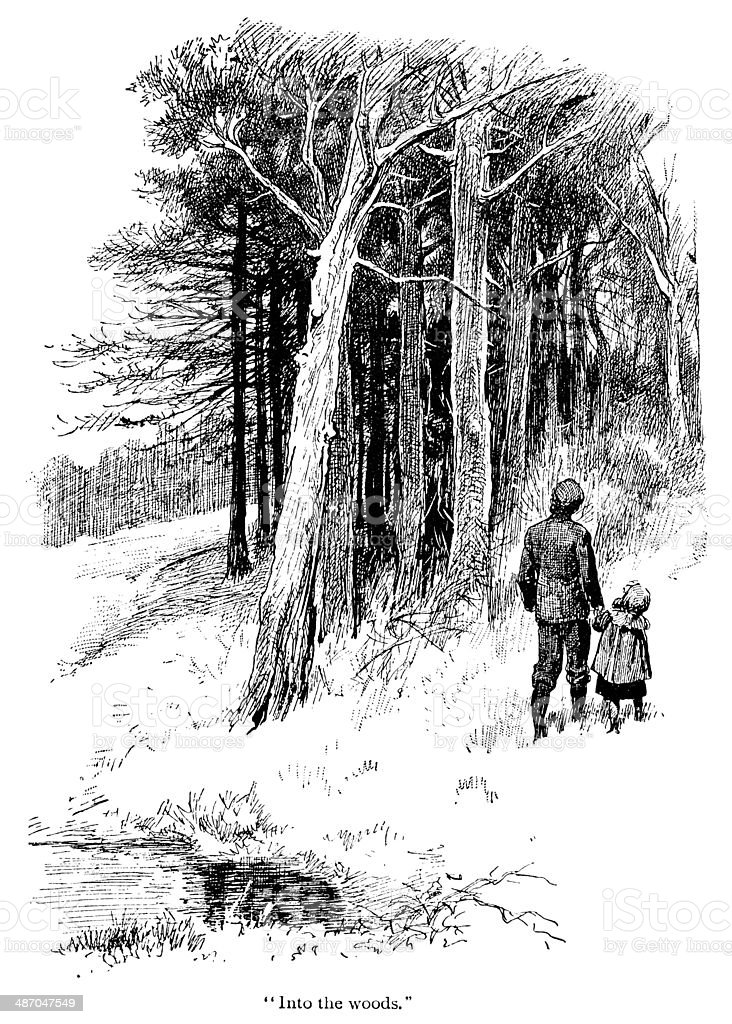 Victorian father and daughter on a woodland walk royalty-free stock vector art