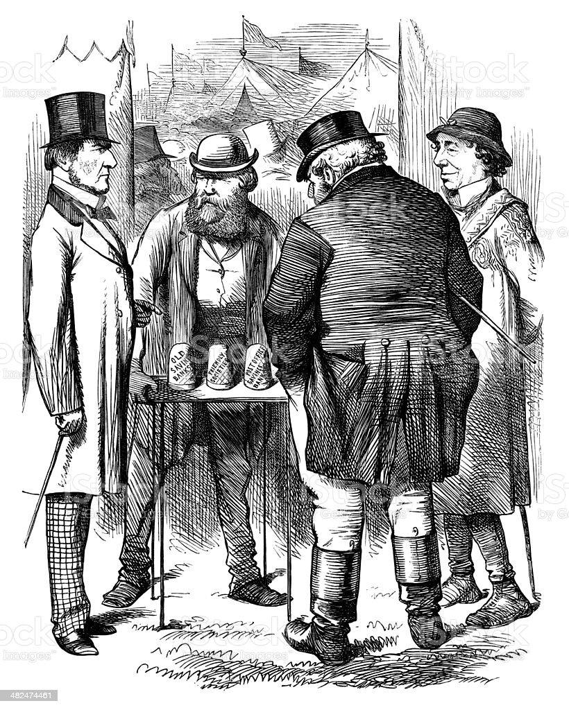 Victorian financial trickery vector art illustration