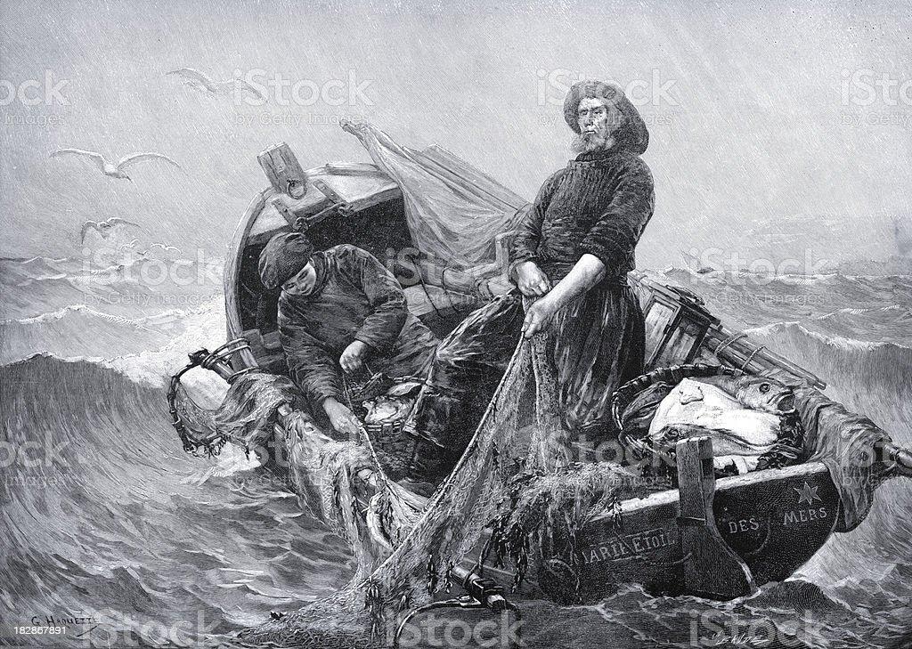 Victorian Fishermen vector art illustration