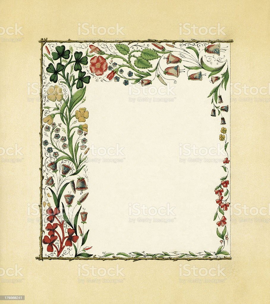 Victorian floral border with clover royalty-free stock vector art