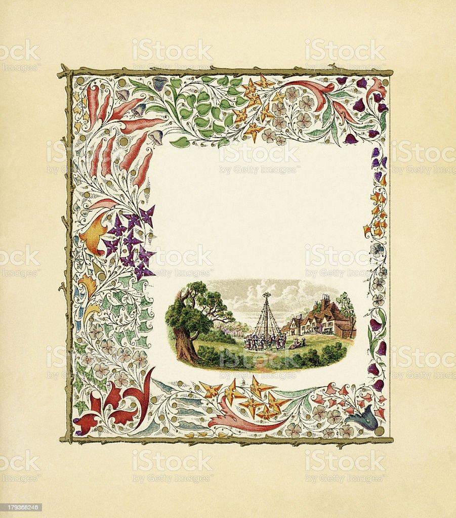 Victorian floral border with Maypole dance vector art illustration