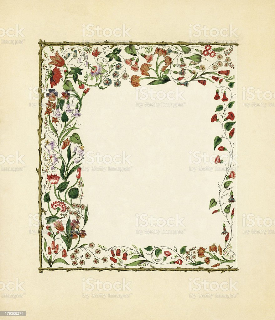Victorian floral frame with creepers royalty-free stock vector art