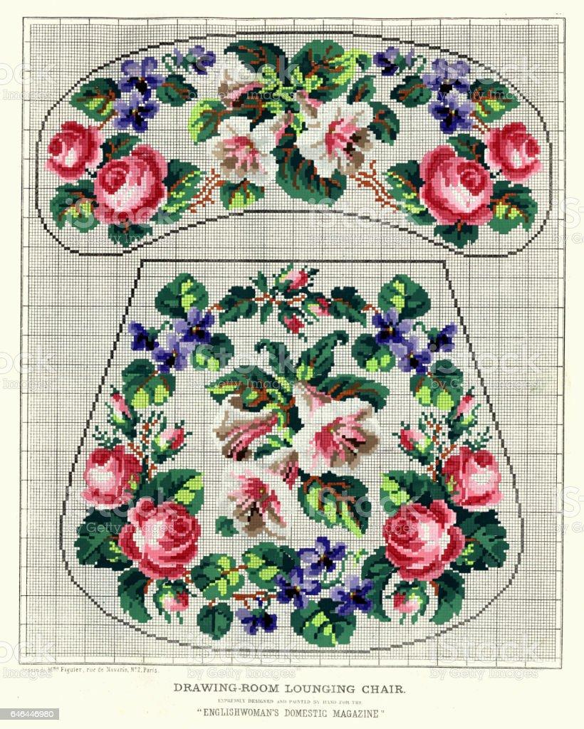 Victorian flower embroidery pattern vector art illustration