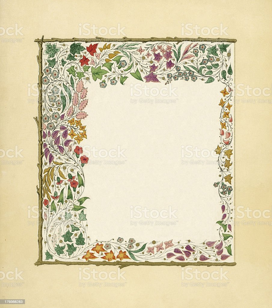 Victorian frame with autumn leaves royalty-free stock vector art