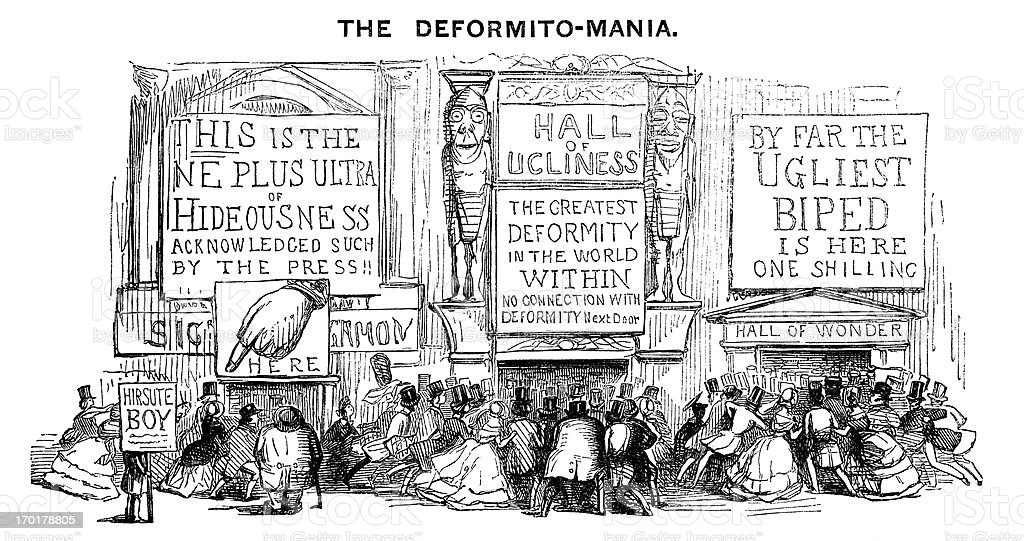 Victorian freak show mania royalty-free stock vector art