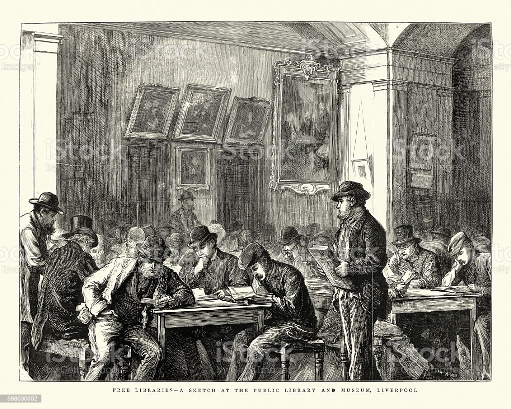 Victorian free libraries, Liverpool public library, 1875 vector art illustration