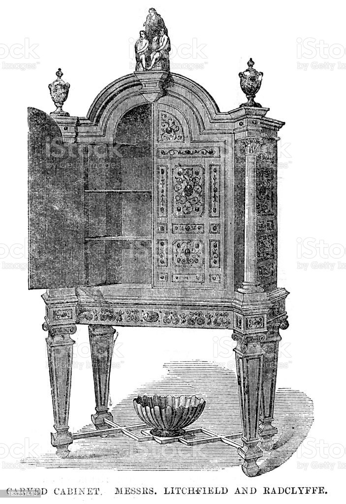 Victorian Furniture Carved Cabinet royalty-free stock vector art