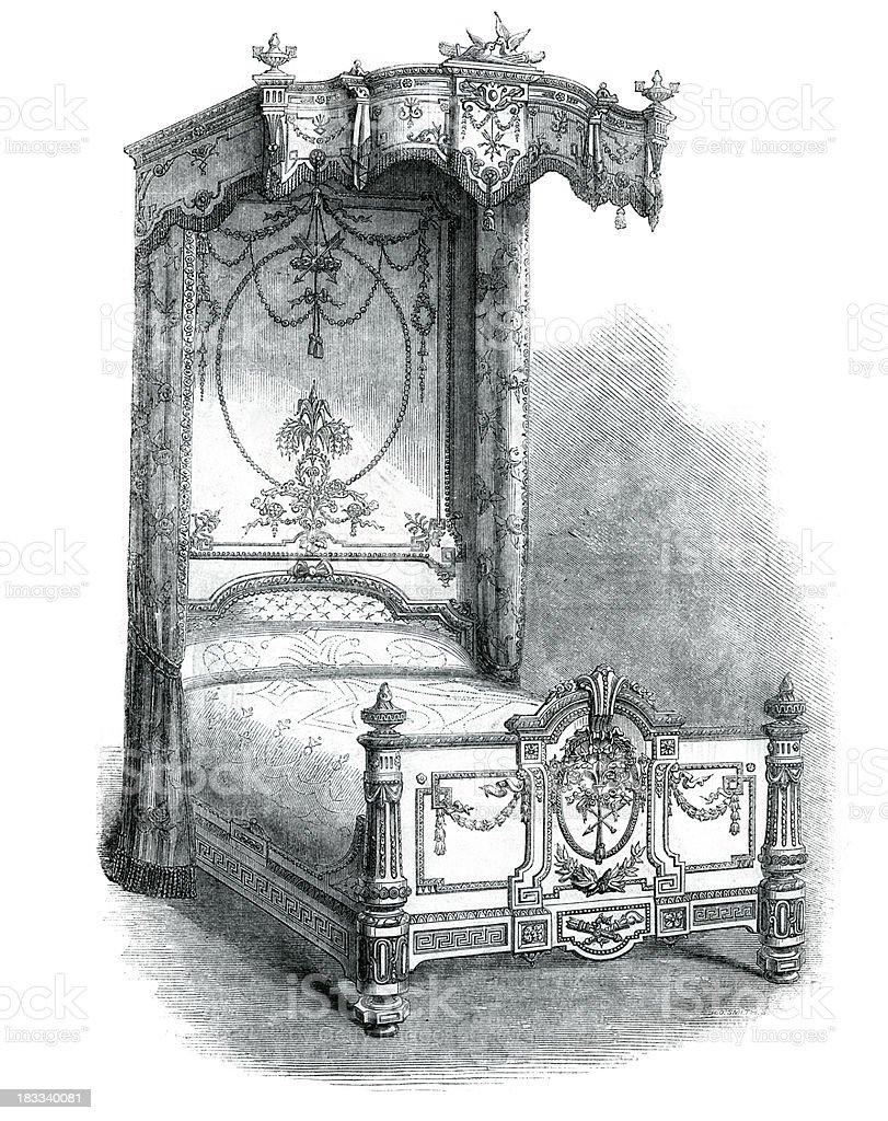 Victorian Furniture Mahogany Bedstead vector art illustration