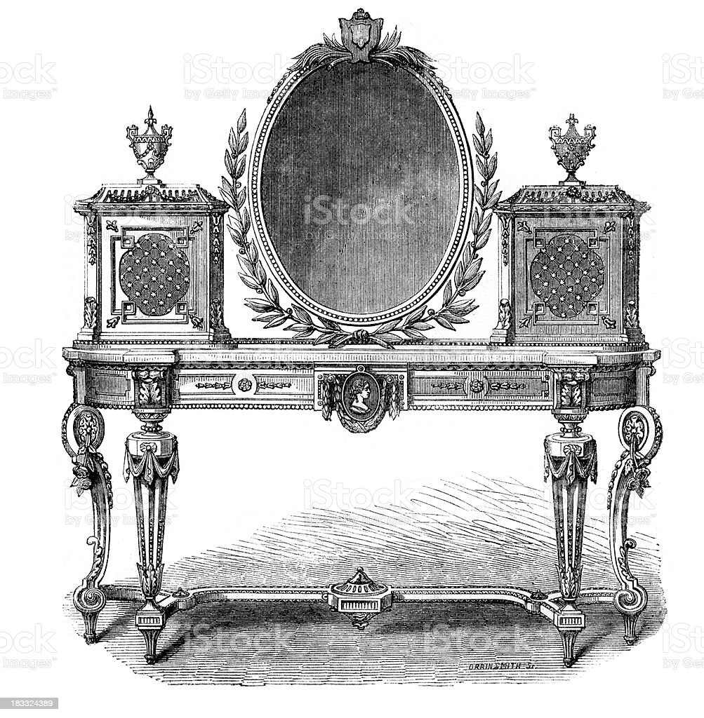 Victorian Furniture Toilet Table royalty-free stock vector art