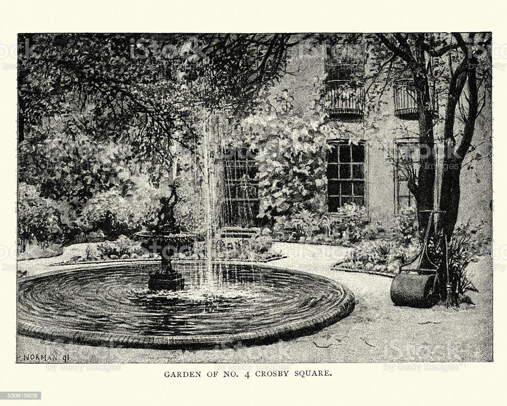 Victorian garden, Crosby Square, London, England vector art illustration