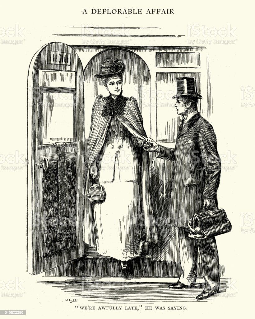Victorian gentleman helping a lady out of a railway carriage vector art illustration