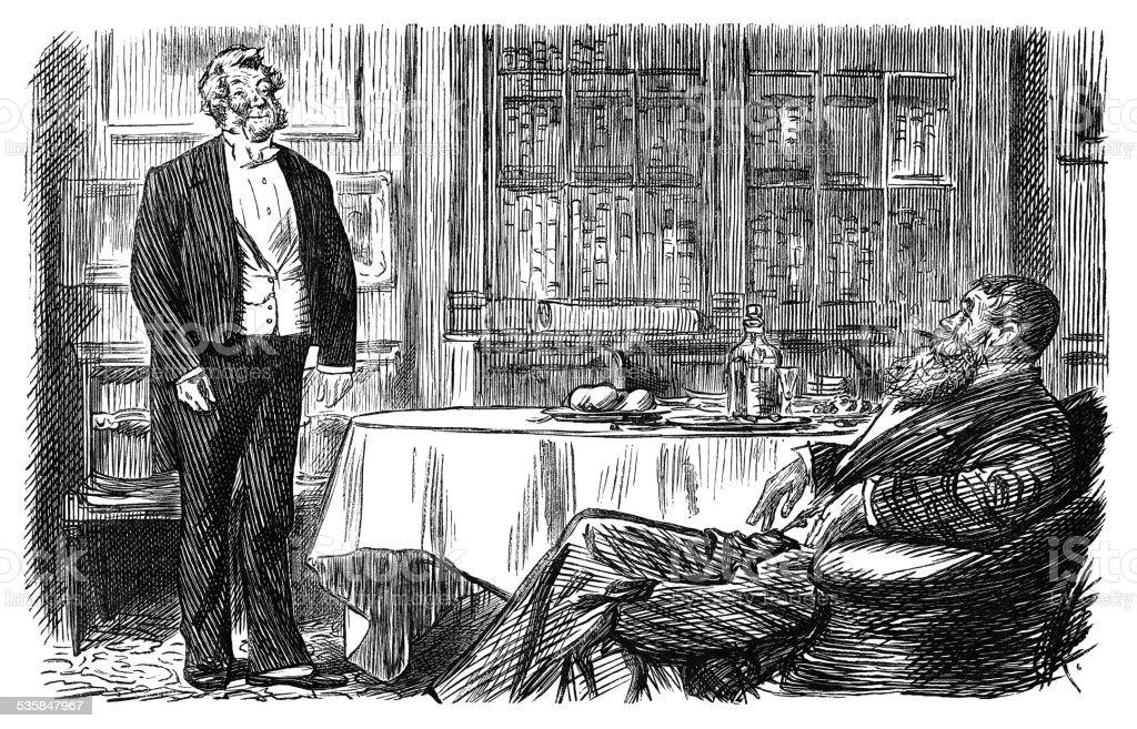 Victorian gentleman instructing his butler vector art illustration
