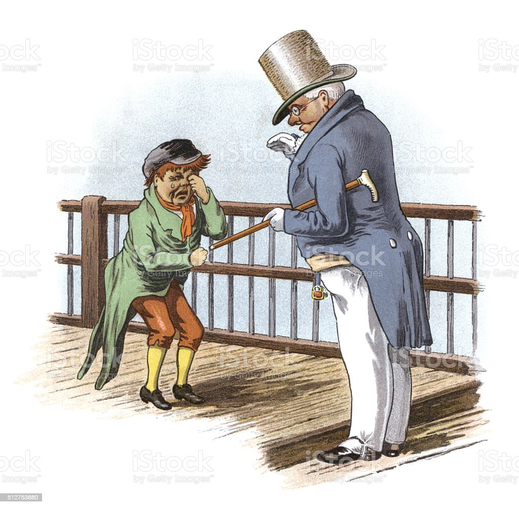 Victorian gentleman talking to a crying boy vector art illustration